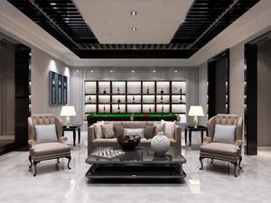 欧式风格别墅室内客厅酒柜装修效果图赏析