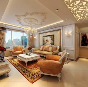 36平米欧式风格大户型客厅吊顶设计装修效果图
