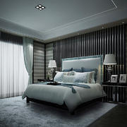 20平米现代简约风格卧室背景墙装修效果图鉴赏