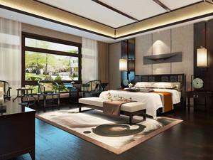 30平米现代中式风格卧室窗帘设计装修效果图