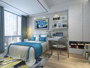 28平米现代简约风格卧室兼书房装修效果图