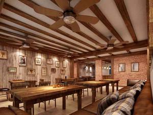 130平米美式乡村风格酒吧设计装修效果图