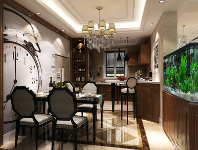 仿古美式风格厨房餐厅装修效果图赏析