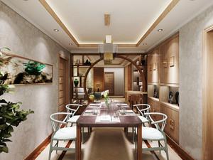 20平米简约中式风格餐厅博古架设计装修效果图