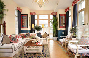 地中海风格时尚混搭两居室装修效果图