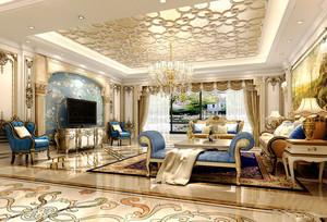 法式风格别墅室内豪华客厅窗帘设计装修效果图