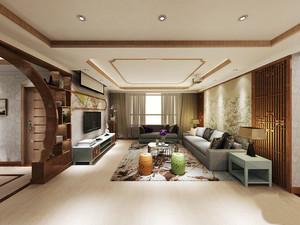 东南亚风格大户型室内客厅吊顶灯池设计装修效果图