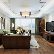 简约中式风格时尚混搭客厅沙发背景墙装修效果图