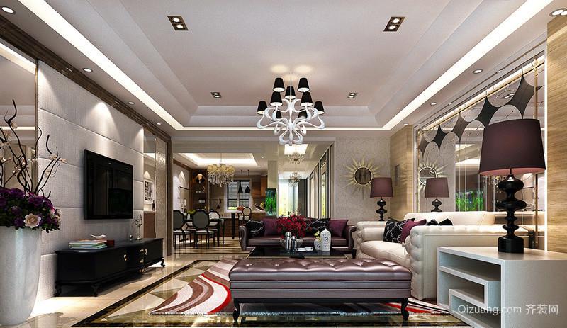 简欧风格三居室室内客厅吸顶灯设计装修效果图
