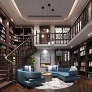 简约中式风格创意楼梯书柜设计装修效果图