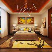 26平米东南亚风格三室两厅卧室生态木吊顶装修效果图