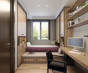 16平米现代简约风格书房榻榻米设计装修效果图