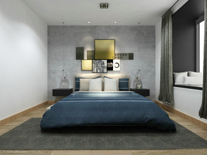 20平米平米后现代风格卧室背景墙装修效果图赏析