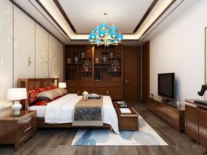 36平米新中式风格卧室博古架装修效果图鉴赏