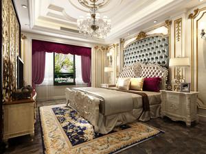 欧式宫廷风格别墅室内卧室窗帘装修效果图鉴赏