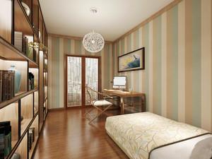 27平米现代田园风格卧室兼书房设计装修效果图