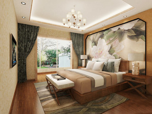 简约中式风格两室两厅卧室手绘墙装修效果图赏析