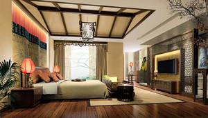 40平米新中式风格卧室卫生间隔断设计装修效果图