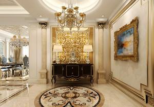 欧式风格别墅室内玄关奢华吊灯设计装修效果图