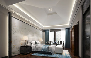 46平米简约现代中式风格卧室背景墙装修效果图赏析