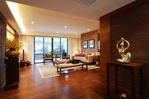 136平米现代中式两室两厅一卫装修效果图