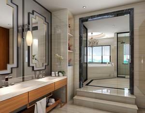 20平米简约中式风格灰色卫生间装修效果图赏析