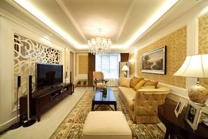 156平米欧式田园风格三室两厅装修效果图鉴赏