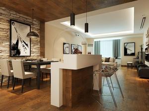 10平米后现代简约风格餐厅吧台设计装修效果图