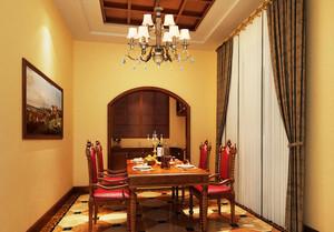 美式乡村风格别墅室内餐厅窗帘设计效果图鉴赏