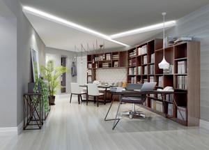现代中式风格客厅书房一体设计装修效果图