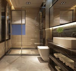 16平米现代简约风格卫生间玻璃隔断装修效果图大全
