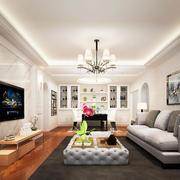 大户型简欧风格室内开放式客厅设计装修效果图