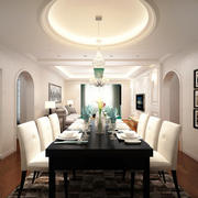 60平米简欧风格客厅餐厅一体吊顶设计装修效果图赏析