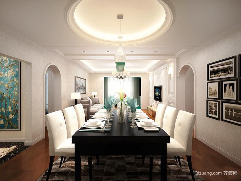 60平米簡歐風格客廳餐廳一體吊頂設計裝修效果圖賞析