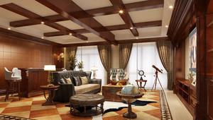 三居室美式乡村风格家庭客厅吧台装修效果图赏析