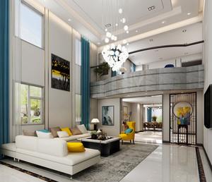 200平米现代简约风格跃层中空客厅吊顶装修效果图