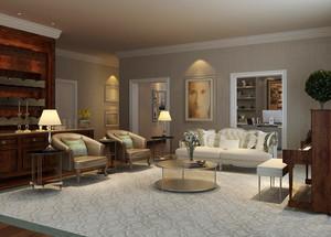 欧式田园风格大户型家庭客厅吧台装修效果图赏析
