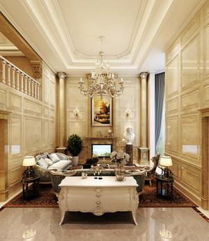 欧式豪华别墅中空客厅吊顶设计装修效果图