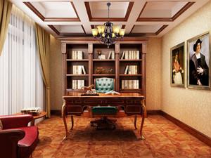 古典欧式风格别墅室内书房书柜装修效果图赏析