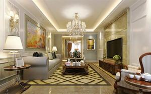 大户型欧式风格客厅水晶吊灯吊顶装修效果图图片