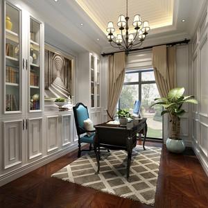 30平米欧式风格别墅室内书房书架装修效果图