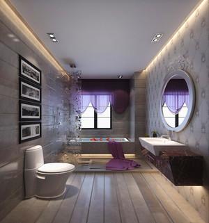 大户型现代简约风格卫生间玻璃隔断设计装修效果图