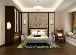 新中式风格两居室卧室整体衣柜装修效果图