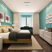 都市清新风格大户型浅蓝色卧室装修效果图