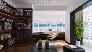 中式风格书房转角飘窗设计装修效果图