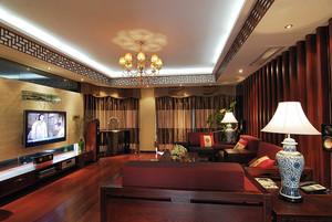 163平米中式风格三室两厅一厨一卫装修效果图