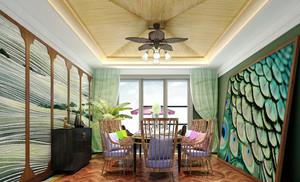 东南亚风格别墅室内餐厅背景墙装修效果图赏析
