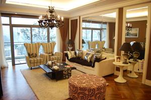 美式田园风格大户型客厅窗帘设计装修效果图