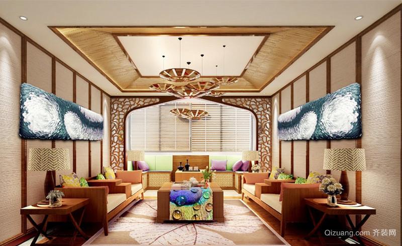 136平米东南亚风格三居室客厅吊顶装修效果图