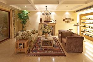 三居室欧式田园风格客厅酒柜装修效果图赏析